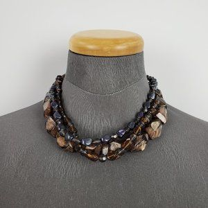 Jewelry - Grey & Brown Beaded Necklace & Earring Set
